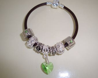 Green swarovki heart leather bracelet