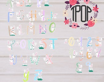 Bunny letters and number svg instant download!