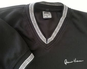 1980s Versace Men's Shirt Gianni Versace T-shirt Black White Size Medium