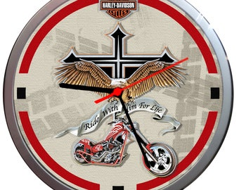 HARLEY-DAVIDSON Ride with him for Life sports motorcycle wall clock Can be personalised