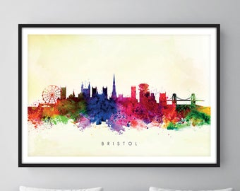 Bristol Skyline, Bristol England Cityscape Art Print, Wall Art, Watercolor, Watercolour Art Decor