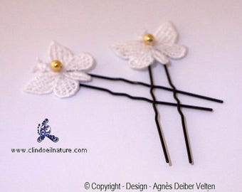 Hair pins. Adorable little white butterflies with Golden beads