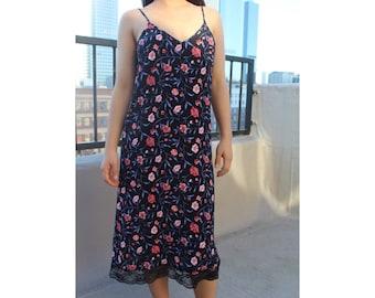 90's floral slip dress/ S M