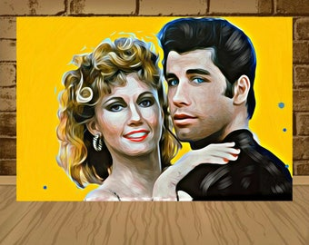 grease poster,grease print,grease art,john travolta poster,john travolta print,john travolta art,olivia newton poster,sandy,danny zuko,art