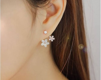 Daisy Front and Back Mother of Pearl Flower ear jacket ,Daisy Flower Ear Jacket, cubic flower ear jackets