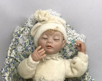 RARE Limited Edition  Baby.    Art Dolls.   Vintage.  Little Doll In A Wicker Basket.