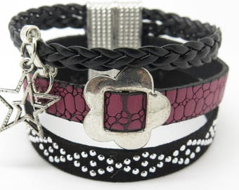 RED LEATHER CUFF BRACELET, BLACK SUEDE STUDDED