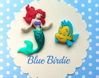 Little Mermaid brooch set Ariel and flounder brooch little Mermaid jewelry Disney jewellery Disney jewelry little Mermaid gift Ariel brooch