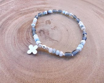 Larimar and Czech Glass Beaded Bracelet with Silver Cross Charm