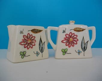 Vintage 1950's Sugar and Creamer Set/Floral/Made In Japan/Collectible