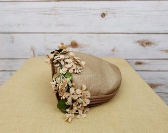 Vintage Brown Floral Hat