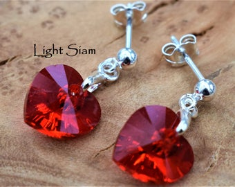 Sterling Silver dangly earrings with Swarovski® Light Siam Crystal