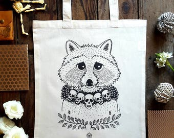 """Tote bag featuring organic cotton """"Racoon With Skull Necklace,"""" tote bag, fabric - raccoon - skull - skull - tattoo bag"""