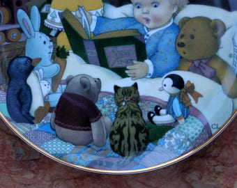 1981 Carol Lawson Collector Plate - Storytime - Cat Plate - Bunny Gift - Childrens Story Gift - Nursery Rhyme Plate - Live in Moment Vintage