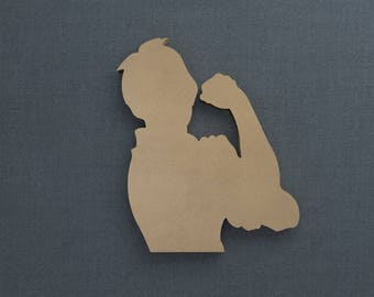 Rosie the Riveter, Wood Cutout, Unfinished Sign