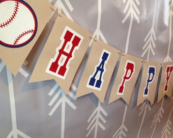 Happy birthday banner baseball themed