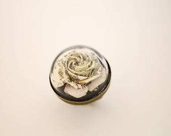 Origami Paper Rose Ring - Japanese Origami -Book Paper- Origami Paper Flower- Anniversary gift-Origami jewellery-Christmas