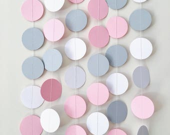 Pink Gray Circle Paper Garland Elephant Baby Girl Shower Decor Birthday Wedding Decoration Party Photo Backdrop Pastel Nursery Decor