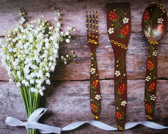 Fork and spoon decor Country home decor fork spoon  art Rustic kitchen wall decor shabby chic decor fork and spoon set fork wall art