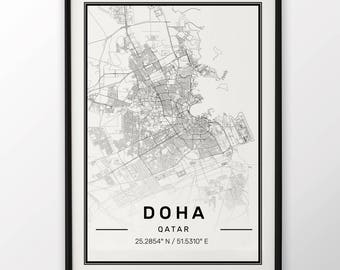 Doha City Map Print, Modern Contemporary poster in sizes 50x70 fit for Ikea frame 19.5 x 27.5 All city available London, New York Paris