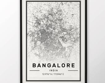 Bangalore City Map Print, Modern Contemporary poster in sizes 50x70 fit for Ikea frame 19.5 x 27.5 All city available London, New York Paris