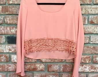 Tobi Crop Top w/ Lace Details And Bell Sleeves