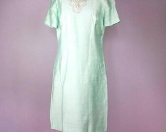 FLASH SALE Vintage 60s Evening Dress - Mint Blue A-Line Party Dress