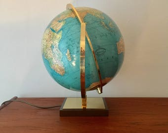 Crystal glass hand crafted globe | 1960s | Paul Oakley | Columbus publishing | brass details.