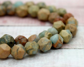 Snake Skin Jasper Round Faceted Gemstone Beads (8mm)