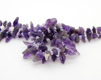 "Amethyst Purple Nugget Irregular Chips Teeth Natural Gemstone Bead Beads, 15.5"" Full Strand"