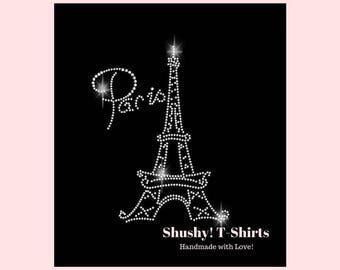 Paris Eiffel Tower Women Rhinestone T-Shirt - Bling Paris Shirt, Sparkle France Lover Gift, Crystal Paris Tee, XS S M L XL 2XL