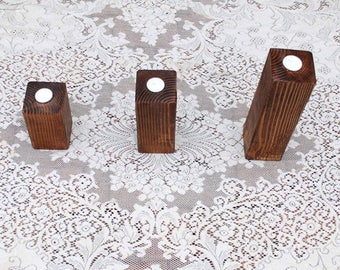 Real Wood Wedding -  Wedding Pillar Votive Candle Holder Set