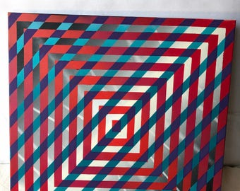 Optical illusion painting 24x24inch canvas