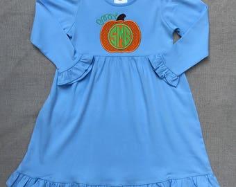 Monogram Pumpkin Dress, Girls pumpkin dress, Fall Pumpkin dress