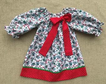 Handmade Christmas Dress, Christmas Mouse Dress, Mouse and candy cane dress