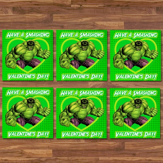 Hulk Valentine's Day Cards - Hulk Smash School Valentines - Green & Yellow - The Hulk Party Printable - Superhero Valentine's Day Card