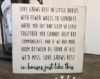 SHIPS FREE! Love grows best in little houses sign   Our Chunky freestanding quote block signs make great affordable gifts they'll love!