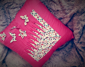 "Pink pillow cover ""Flight"""