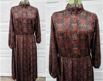 Gorgeous Vintage Silky High Collar Long Sleeve Paisley Full Length Dress, Large