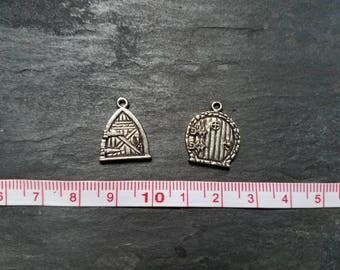 Silver Hobbit Door Fairy Door Charms Set Of Two Jewelry Making Jewelry  Supplies DIY Jewelry DIY