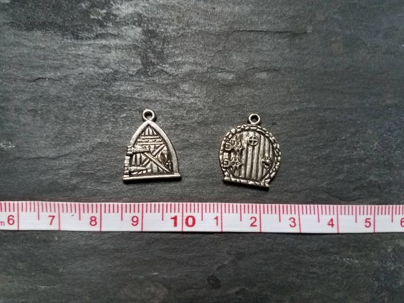 Silver Hobbit Door Fairy Door Charms Set of Two Jewelry Making Jewelry Supplies DIY Jewelry DIY Crafting Supplies Charm Bracelet LOTR charm from ... & Silver Hobbit Door Fairy Door Charms Set of Two Jewelry Making ...
