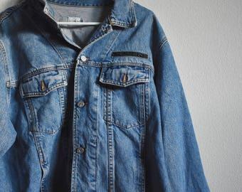 Calvin Klein // XXL // 1990s Vintage Denim Jean Jacket // 90s Blue Jean //