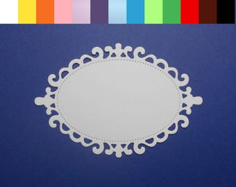 "8 Flourish Oval Die Cuts Choose a Color 3 1/2"" x 2 3/8"" Cardstock Paper Label Journal Tag Embellishment Scrapbooking Card Making"