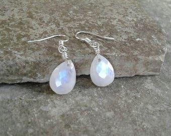Rainbow Moonstone Earrings, Genuine Rainbow Moonstone Dangle Earrings with Solid Sterling Silver Wire, June Birthstone,