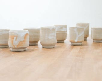 Handmade coffee cups, set of 8, white ceramic pottery cups for coffee or tea