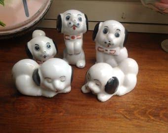 Vintage ceramic dog figures x 5 1980s