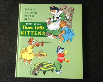 Vintage Three little kittens Read along story book 1980s