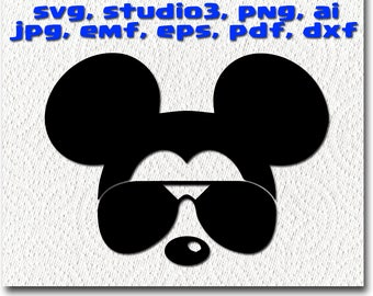 Mickey Mouse with sunglasses svg - Cuttable Cricut Design Space, Silhouette Digital Cut Files Instant Download dxf studio3  disney clipart