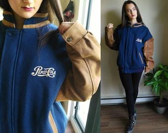 Varsity Jacket / Letterman Jacket / Pepsi / Leather Jacket / Bomber Jacket / Wool Coat / Wool Jacket / Winter Coat / Warm Coat / Pepsi Cola