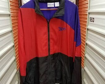 12% Back To School Sale Vintage 90's Reebok Colorblock Windbreaker Hood Jacket. Men's Size XL.